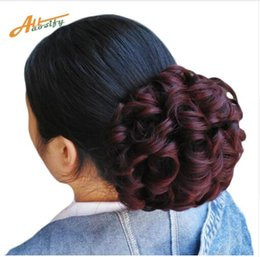 Wholesale Short Curly Chignon Women's Synthetic Hair Bun Black Brown Hair Extension With Chignon Rubber band Combs in Hairpiece