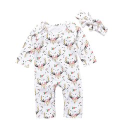 88506d1da716 INS baby girl toddler 2piece set outfits Long sleeve Floral Deer Romper  Onesies Jumpsuits dress + Bow Headband headwrap reindeer B11