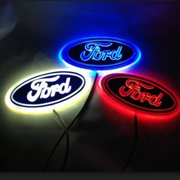 led car badge emblem NZ - 5D Car LED Badge Light Mark Car LED Emblem Car LED Logo Light For Ford Series 14.5cm X 5.6cm Three Colors Optional