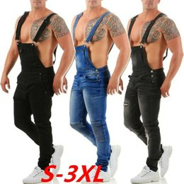 hot boy black trouser 2021 - Hot Fashion Men Boy Jeans Dungaree Denim Slim Bib and Brace Trousers Pants Ripped Work Overalls