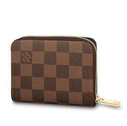 Discount star belts - N63070 ZIPPY COIN PURSE Grid pattern brown Real Caviar Lambskin Chain Flap Bag LONG CHAIN WALLETS KEY CARD HOLDERS PURSE