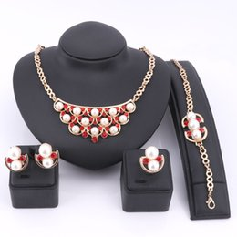$enCountryForm.capitalKeyWord Australia - Imitation Pearl Crystal Jewelry Sets Turkish Gold Color Jewellery Sets For Women Wedding Party African Beads Jewelry Set