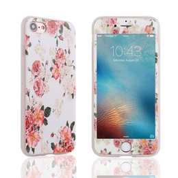 Factory Screen Protectors Australia - factory price For iphone Fashion Luxury Base Flower Hybrid Shockproof Slim Back Case Tempered Glass Cover Screen Protector #195