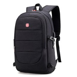 nylon 17 inch laptops UK - 17.3 inch business Backpack Laptop Rucksack Travel Backpack Large Capacity Business Bags USB Charge College Male School backpack hot