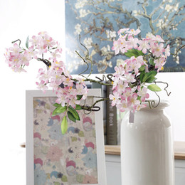Sakura cherry bloSSom flower tree online shopping - 1Pc Artificial Cherry Blossoms short tree branches Sakura Cherry DIY Wedding Arch decoration fake flowers party decor Wreath
