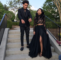 Nude High Slit Prom Dresses NZ - Fitted African Evening Dresses Two Piece High Neck Tops Lace Long Sleeve Black Girls Couple Prom Dresses With Slits Long Graduation Dresses