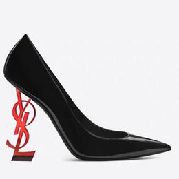 $enCountryForm.capitalKeyWord Australia - Black gold Red Comfortable ysl Designer Wedding Bridal Shoes YSL Heels Shoes for Wedding Evening Party Prom Shoes