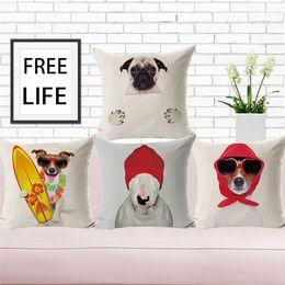 $enCountryForm.capitalKeyWord Australia - Custom printing cotton linen pillow case dogs throw cushion pillow cover home decoration pillow case 45*45cm