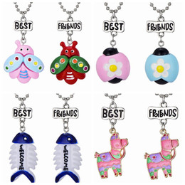"""Bff Necklaces Australia - 2PCS Pair """"Best Friend"""" Horse Flower Fish Bone Insect Pendant Necklaces Kids Imitation BFF Necklace For Children Jewelry Birthday Gifts"""