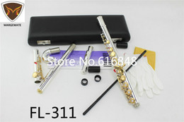 $enCountryForm.capitalKeyWord Australia - FL-311 Standard Silver Body Gold Key C Tune Flute with Small Elbow Curved Head 16 17 Key Holes Open Closed Flute Instrument Flauta