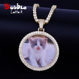 custom gold pendants Australia - Custom Made Photo Medallions Necklace & Pendant With 4mm Tennis Chain Gold Silver Color Cubic Zircon Men's Hip hop Jewelry SH190930