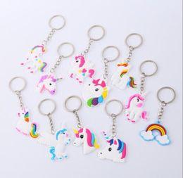 Silicone Toys Australia - Unicorn Keychain Keyring Cellphone Charms Handbag Pendant Kids Gift Toys Phone Decoration Accessory Horse Key Ring
