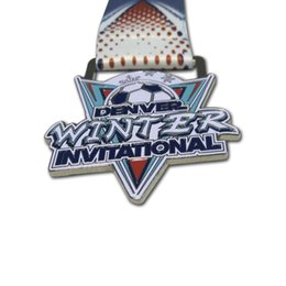 metal awards UK - 2D Soccer Sports Custom Creative Award Metal Medals with Sublimation Ribbon