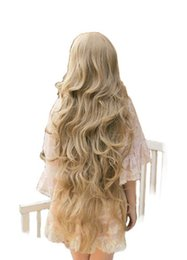 $enCountryForm.capitalKeyWord UK - Women Girls Long Wavy Cosplay Blonde 100 Cm Super Long Heat Resistant Synthetic Hair Wigs