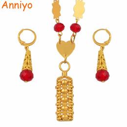 $enCountryForm.capitalKeyWord Australia - Anniyo Micronesia Jewelry Sets Colorful Stone Necklace Earrings Round Beads Chain Necklaces Marshall Jewellery Guam #135406 J190525