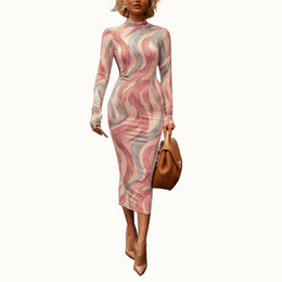 TurTleneck dresses plus size online shopping - 2019 Hot Sale Turtleneck Sexy Pencil Dress Women Long Sleeve Moire Printing Midi Dress Spring Plus Size Fashion Robes