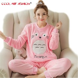 53accae6d Spring Autumn Women Pyjamas Sets Thick Warm Coral Velvet Suit Flannel Long  Sleeve Female Cartoon Totoro Animal Pants Sleepwear