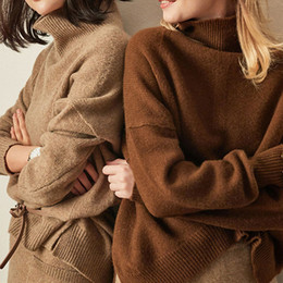 Wholesale women s pure cashmere sweater resale online - Autumn Winter New Women High Collar Pure Cashmere Sweater Fashion Loose Short Warm Pullover Wild sell well Blouse