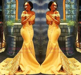 NigeriaN lace short dresses online shopping - African Nigerian Yellow Mermaid Prom Dresses Off Shoulders Lace Sequined Satin Evening Prom Gowns Arabic Dresses