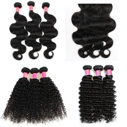 16 inch 1b hair Australia - YAHLIGS Better Hair 3 Bundles 8-28 inch Brazilian Virgin Remy Human Hair Deep Wave Curly Body Wave Straight Color 1B Black J80
