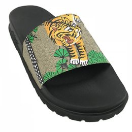 $enCountryForm.capitalKeyWord UK - mens and womens fashion bengal tiger and trees print leather trek rubber Slide Sandals slippers With thick moulded rubber foot bed