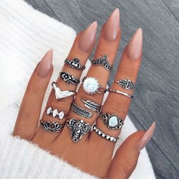 stack rings wholesale Australia - Hot Fashion Jewelry Ancient Silver Knuckle Ring Set Opal Crown Flower Elephant Stacking Rings Midi Rings Set 13pcs set S323