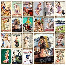 sexy metal vintage signs Australia - Sexy Lady Car Motorcycle Airplane With Pin Up Girls Metal Tin Signs Vintage Poster Art Painting Craft Pub Bar Home Wall Decor 30*20cm ABOX