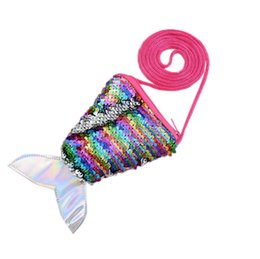 $enCountryForm.capitalKeyWord UK - Lovely Mermaid Sequins Coin Purse Neck Strap Handbag Kids Girl Glittering Purse Small Walle Zipper Clutch Cute Pouch Key Packet
