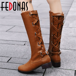$enCountryForm.capitalKeyWord Australia - FEDONAS New Arrival Euro Style Women Solid Cross-tied Over The Knee Boots Autumn Winter Fashion PU Leather Party Shoes Woman