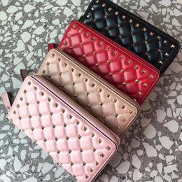 Zipper Spikes Australia - Hot 2018 famous top lamb skin rivets long zipper wallet 7A best quality garavani Rock Studs spike lady fashion purse free shopping