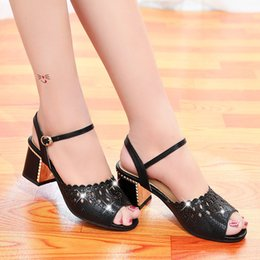 Fish Mouth Sandals NZ - Overseas2019 New Pattern Korean Crude One Fish Mouth Woman Sandals High With Paillette Hollow Out Mom Shoe