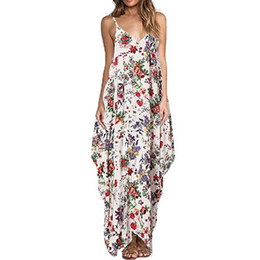4200f910e22a Print Floral Loose Boho Bohemian Beach Dress Women Sexy Strap V-neck Retro  Vintage Long Maxi Dress Summer 2018 Plus Size 3xl Y19012201