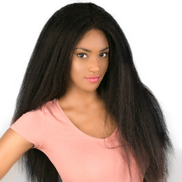 Brazilian Light Yaki Lace Wig Australia - 130% Density Italian Yaki Full Lace Human Hair Wigs For Black Women Kinky Straight Lace Front Wigs Brazilian Remy Pre Plucked Bleached Knots