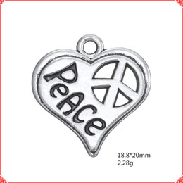 $enCountryForm.capitalKeyWord Australia - 30pcs Antique vintage tibetan silver heart peace symbol charms metal dangle alloy pendants for necklace bracelet earring diy jewelry making