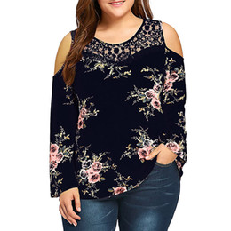 147a45827118ce 5XL Women Blouses Long Sleeve Plus Size Tops Lace Cold Shoulder Blouse  Floral Printed Blouse O-Neck Summer Tee shirt Fashion