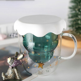 glasses wall Australia - 300ml Christmas Tree Insulating Cup Mug Double Wall Glass Coffee Cups with Silocone Lid Snowflake Star Xmas Tumbler MMA2638