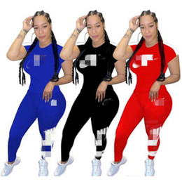 Wholesale lace short leggings women resale online - Women Designer Tracksuit Short Sleeve Outfits Striped Shirt Pant Piece Set Trousers Sportswear Skinny Shirt Leggings Sport Suit Hot y555