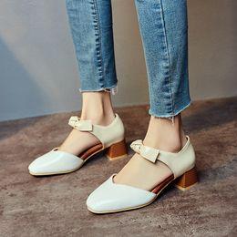 $enCountryForm.capitalKeyWord Australia - YMECHIC Fashion Lolita Bow Med Chunky Heels Knot Black White Brown Women High Heels Shoes Large Sizes Summer 2019 Pumps Woman