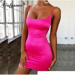 $enCountryForm.capitalKeyWord Australia - Colysmo Stretch Satin Mini Dress Women Sexy Straps Slim Fit Bodycon Party Dress Neon Green Pink Dual-layered Robe Femme