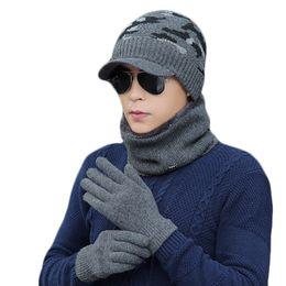 $enCountryForm.capitalKeyWord Australia - 3pcs Set Knitted Plush Hat Gloves Scarf Set For Men Women Winter Fashion Outdoor Warm Casual Unisex Cap Scarves Gloves Sets Gift