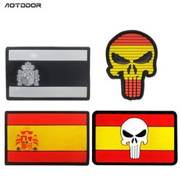 $enCountryForm.capitalKeyWord Australia - Rubber Spain Flags Skull patches Badges Tactical Military Morale Patches 3D PVC Spanish Flags Patches Maker For Clothes Jacket