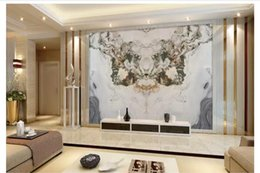 silk painting patterns NZ - Custom 3D Silk Photo Mural Wallpaper Jade marble pattern landscape painting stone living room TV sofa background mural wall sticker