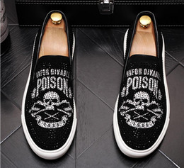 Shine dreSS Shoe online shopping - British style Shining rhinestone punk Rock men Casual Shoes skull loafers men Dress shoes moccasins zapatos hombre LF136