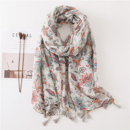 20a30aeef Beauty Florals Women Large Viscose Hijab Scarf for Female Soft Blanket Wrap  Bead Tassels Fashion Design [3555]
