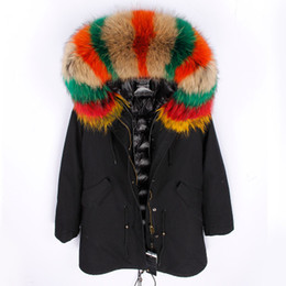 women s down parka sale Australia - maomaokong brand Rainbow color raccoon fur trim hoody black long parkas women down jackets down fill coats Long style coats for sale
