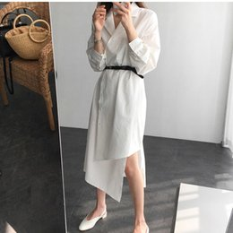 $enCountryForm.capitalKeyWord Australia - Mori Girl Korea Retro Design White Dress Women 2019 New Long Shirt Dresses Women Slim Asymmetrical Runway Vestidos Office Lady Y19051001