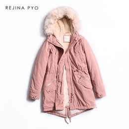 Discount womens army green hooded parka - REJINAPYO Women Casual Thick Warm Long Hooded Parkas Coat Fleece Liner Womens Winter Fashion Long Outerwear Faux Fur Col
