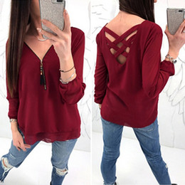 Sexy Army Shirts Australia - Long Sleeve Women Chiffon Blouse Shirt Femme Wine Red Navy Blue White Army Green Sexy Off Shoulder Women Tops Blusas Feminina