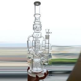 Dab Oil Catcher Australia - Glass Water Bongs Recycler Oil Rig 4 Rocket Honeycomb Perc Bubbler Dab Rig 18 inch Functional Ice Catcher Hookah Pipe Beaker Smoking Bong