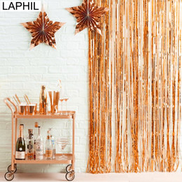 tinsel party decorations Australia - LAPHIL 1x2M Rose Gold Foil Fringe Tinsel Curtain Tassel Garland Wedding Decoration Photography Backdrop Bachelorette Party Decor